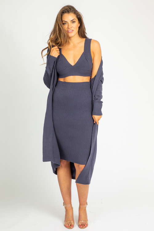 INDIGO RIBBED 3 PIECE SET