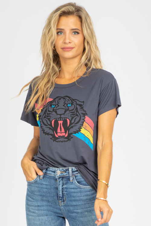 MULTI-RAINBOW TIGER GRAPHIC TEE