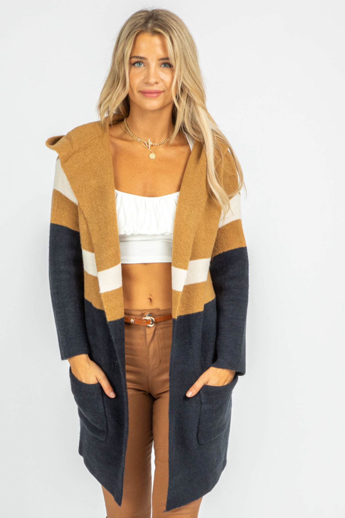 NAVY + CAMEL COLORBLOCK CARDIGAN