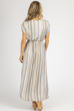 NAVY + NEUTRAL STRIPED SLIT MAXI