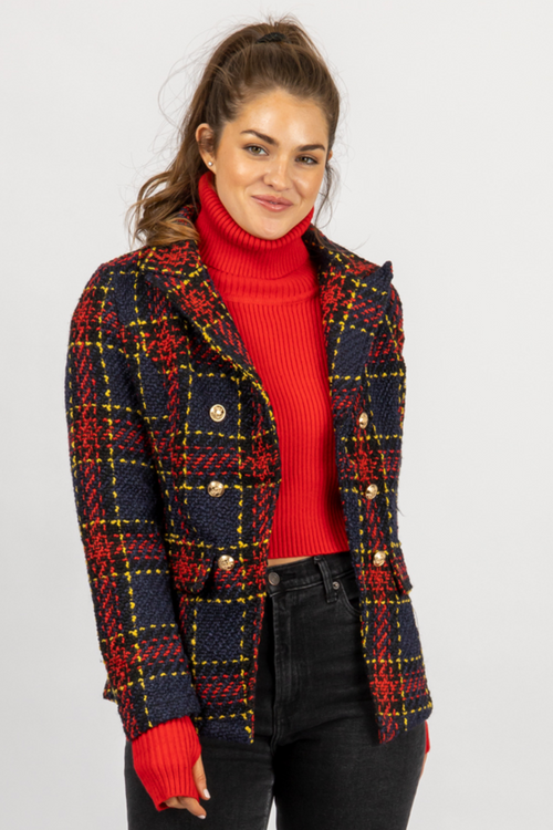 RED + NAVY PLAID BLAZER