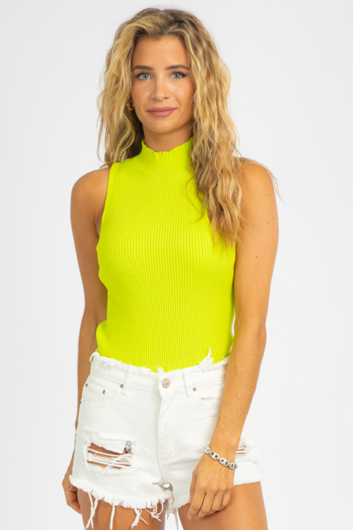 NEON RIBBED KNIT TOP