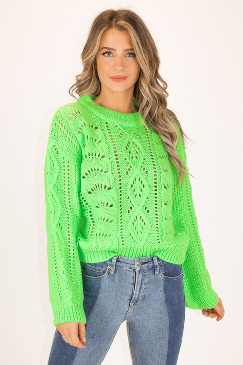 NEON GREEN PUFF SLEEVE SWEATER