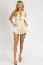 NEUTRAL BUTTON OPEN BACK ROMPER