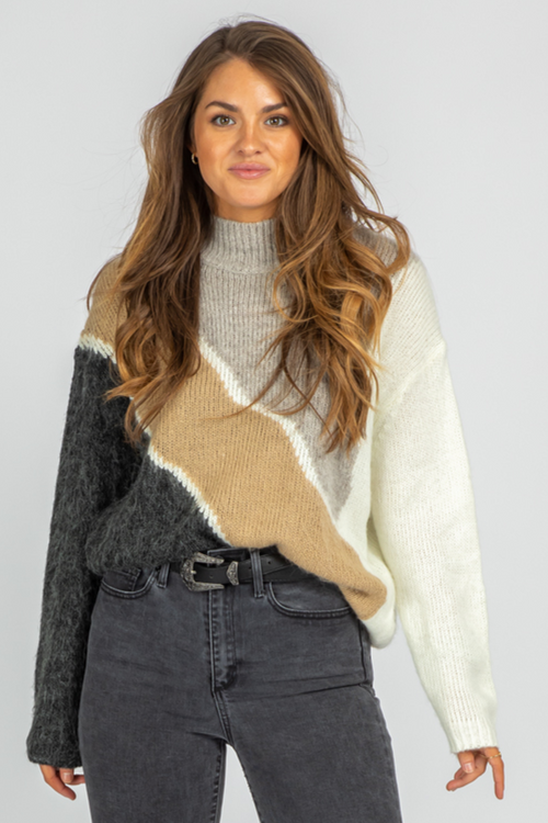 NEUTRAL COLORBLOCK MOCK NECK SWEATER