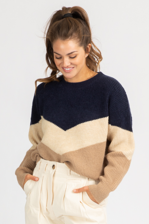 TIERED NEUTRAL + NAVY RIBBED KNIT