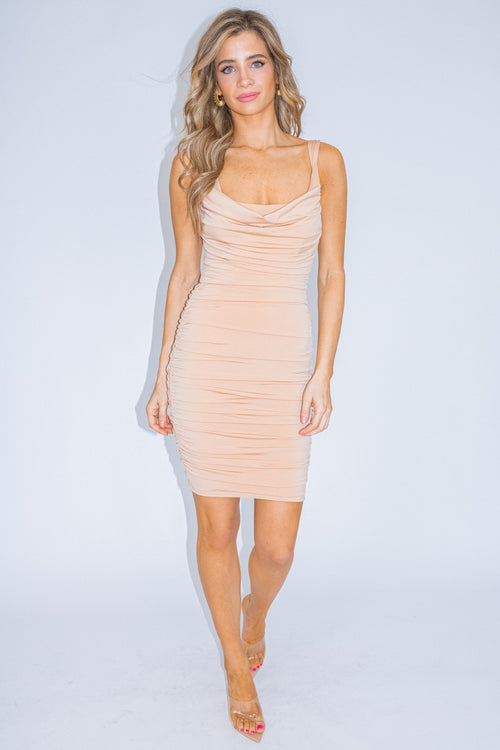 NUDE RUCHED MINI DRESS (DUPED)