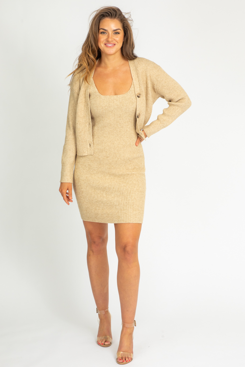 OATMEAL CARDIGAN DRESS SET