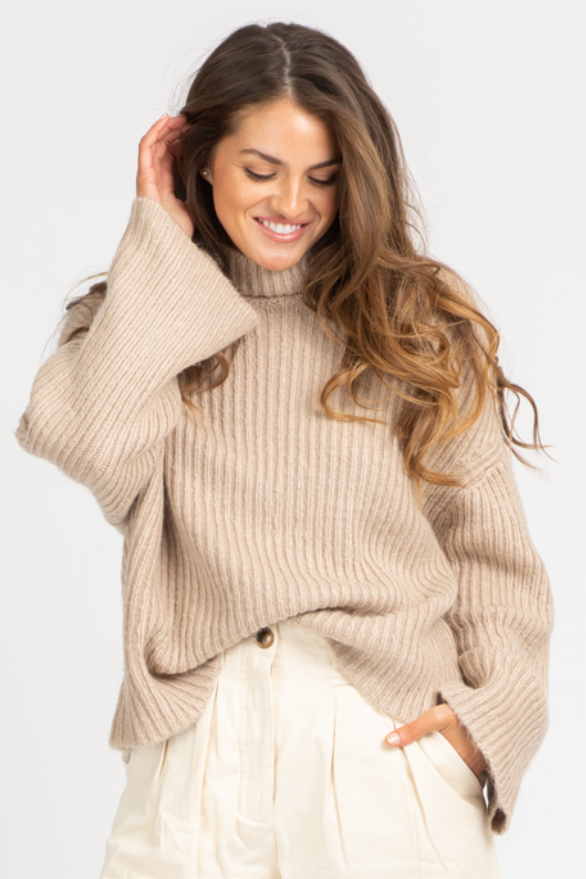 OATMEAL OVERSIZED RIBBED SWEATER