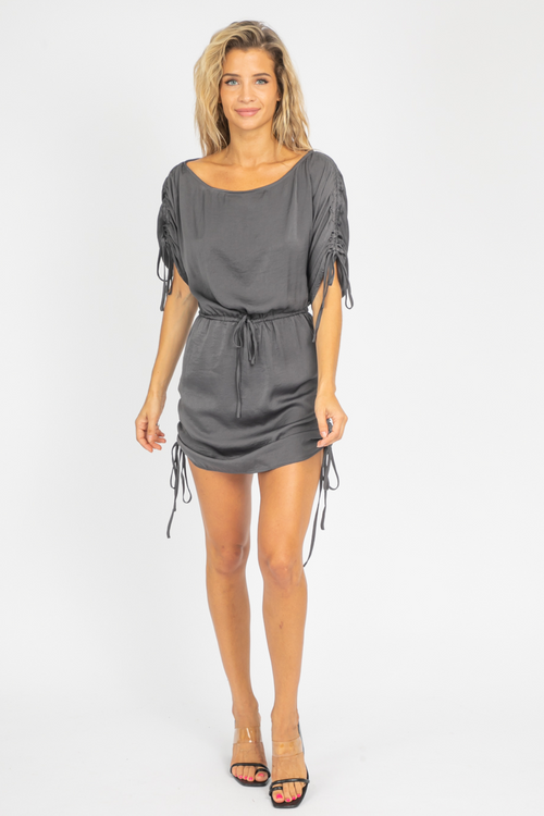 CHARCOAL OFF SHOULDER CINCH DRESS