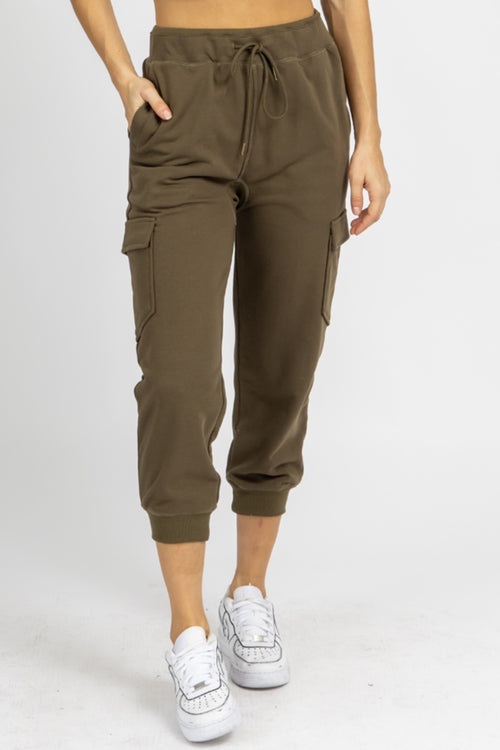 OLIVE CARGO RELAXED JOGGERS