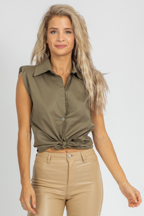ARMY SLEEVELESS BUTTON FRONT TOP