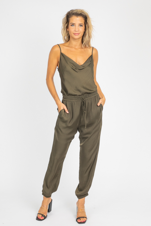 HUNTER GREEN COWL NECK JUMPSUIT