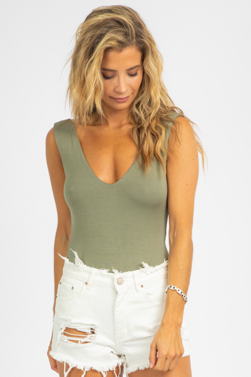 OLIVE LINED DEEP V BODYSUIT