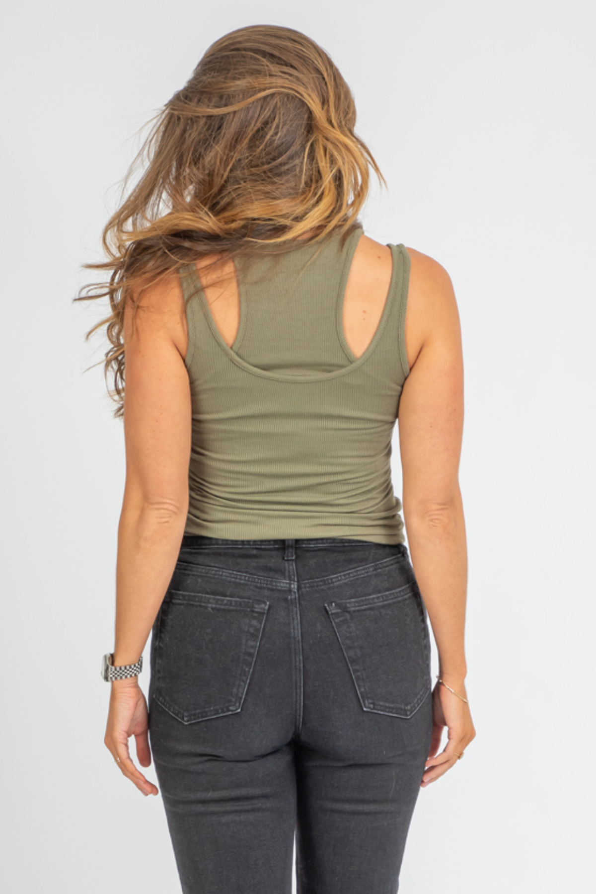 OLIVE DOUBLE LAYER RACERBACK TANK