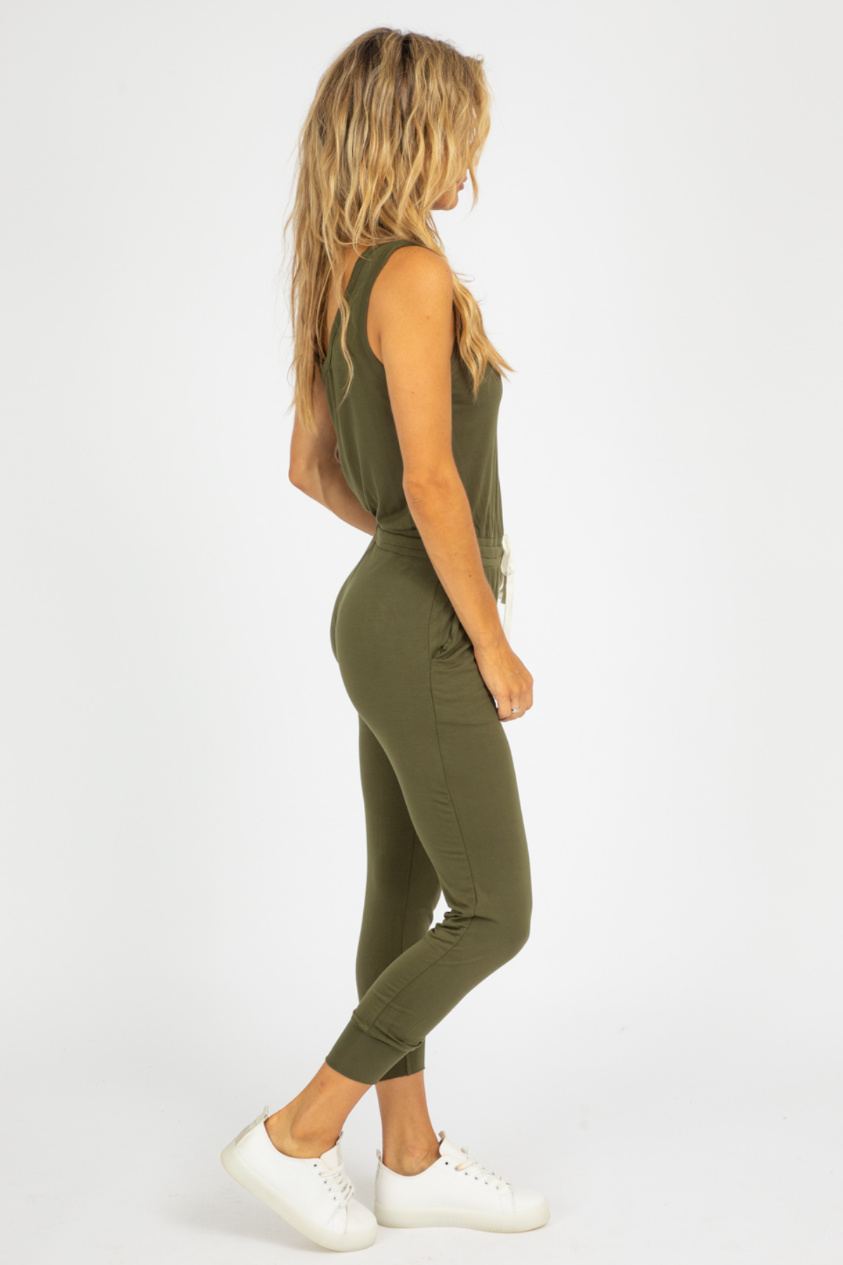 OLIVE FRONT POCKET JUMPSUIT