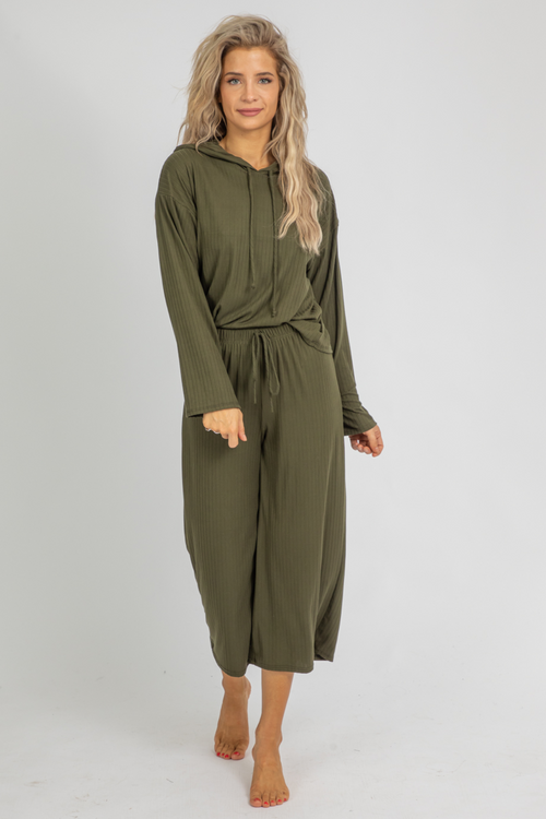 DEEP GREEN HOODED PANT SET