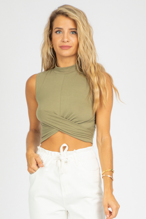 OLIVE MOCK NECK TWIST TANK