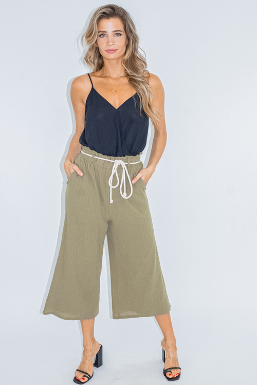 OLIVE ROPE BELT CULOTTE PANTS