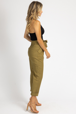 OLIVE PLEATED TIE-BELT TROUSERS