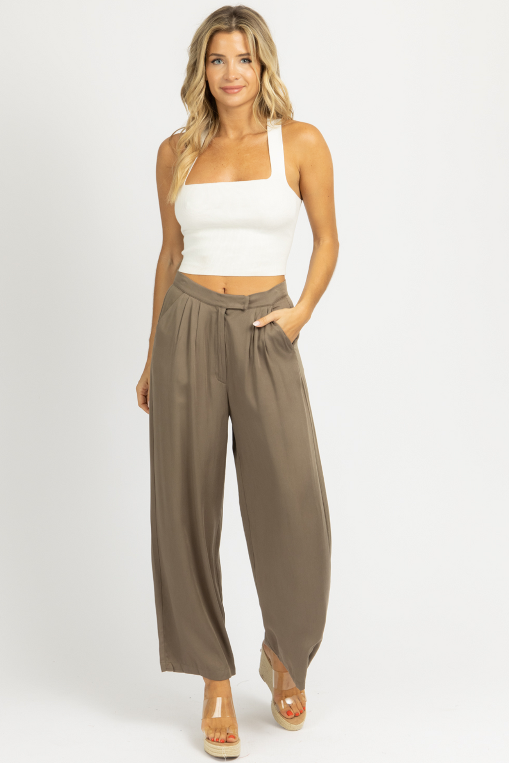 OLIVE PLEATED HIGH WAISTED TROUSER