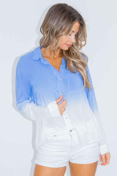 DIP DYED DENIM BUTTON DOWN