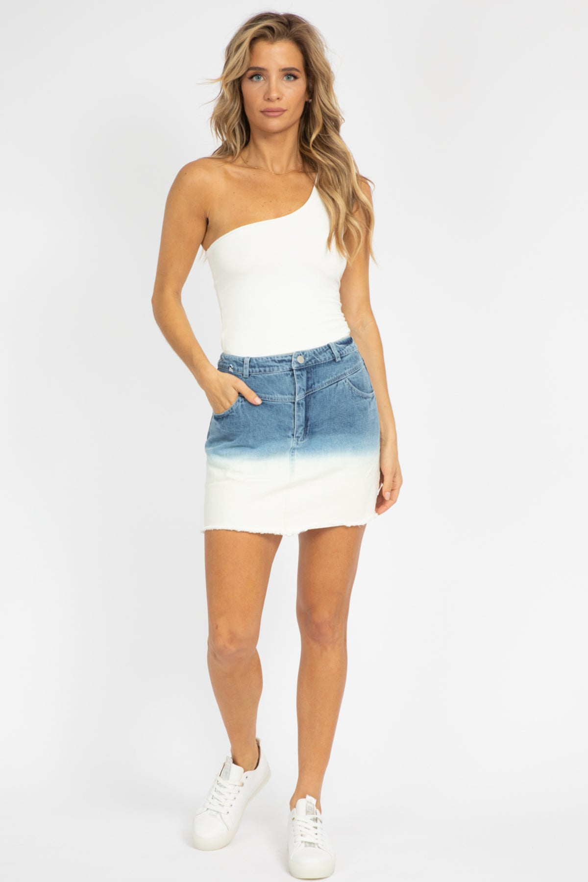 OMBRE DENIM MINI SKIRT