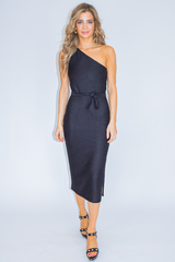 BLACK ONE SHOULDER KNIT DRESS