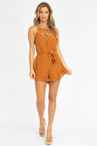 MIDNIGHT SATIN ROMPER