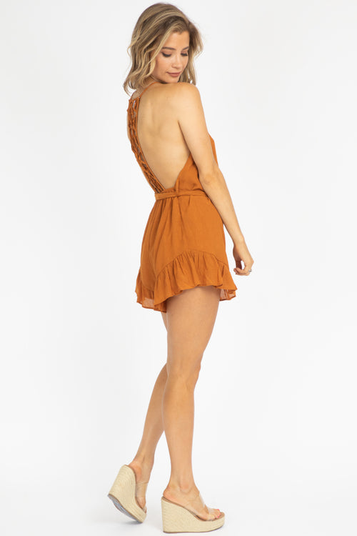 TAN LOOP CROCHET ROMPER
