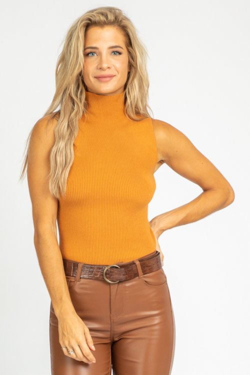 ORANGE SLEEVELESS TURTLENECK TOP