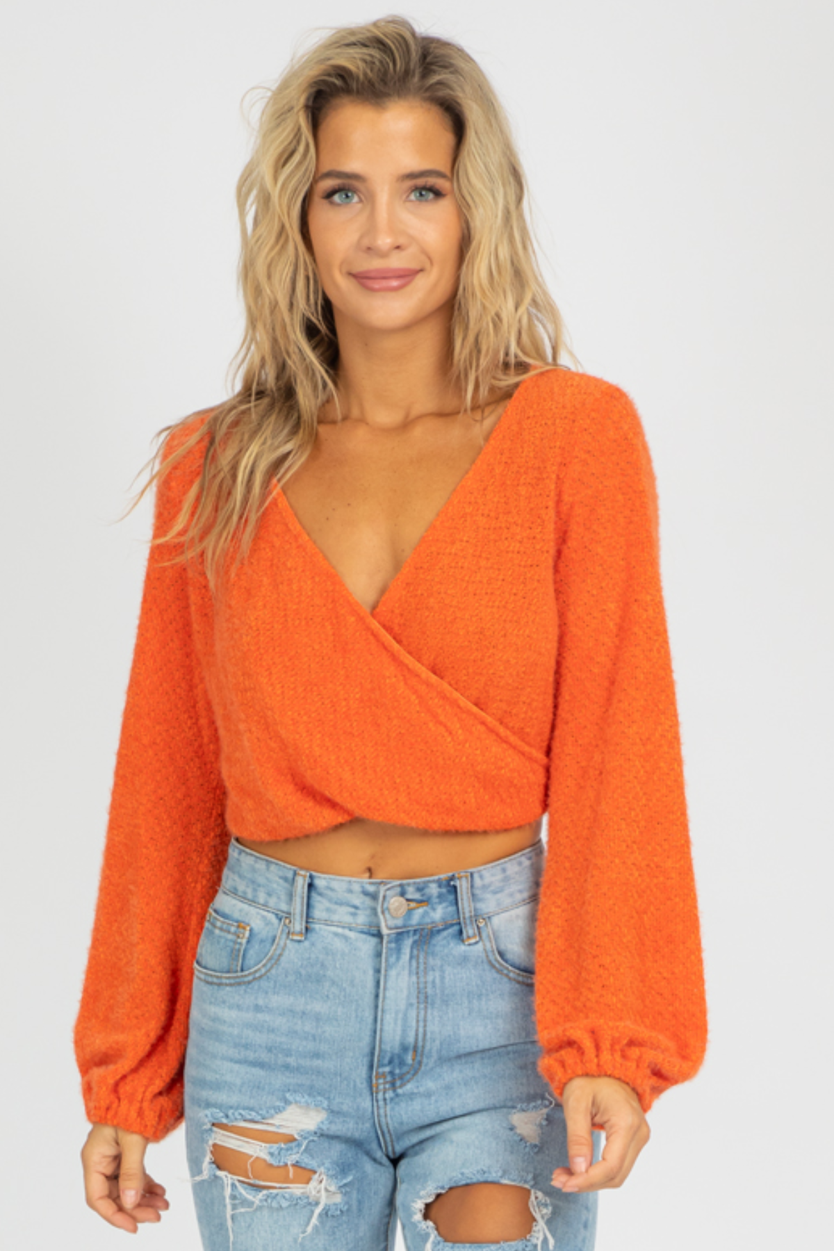 ORANGE SURPLICE KNIT TOP