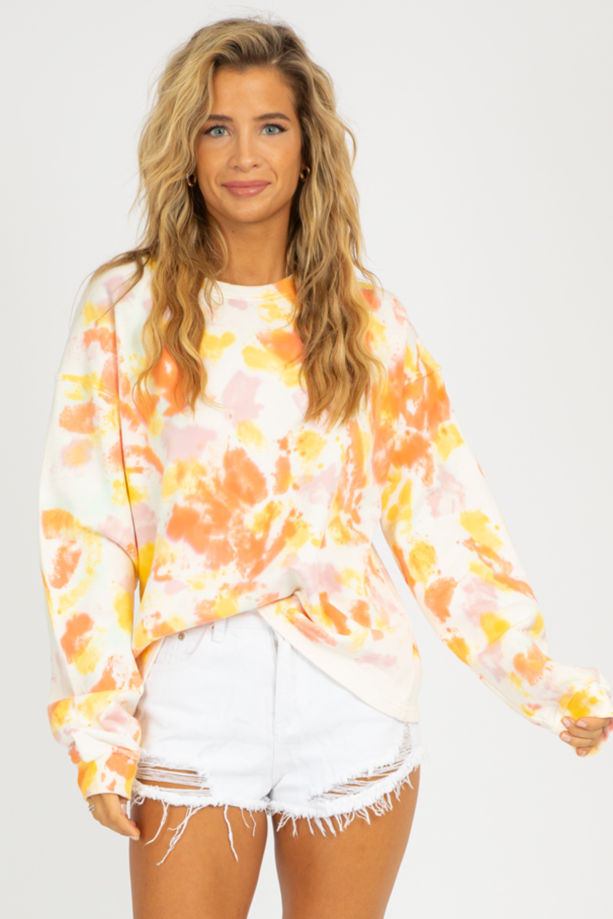 YELLOW + ORANGE TIE DYE SWEATSHIRT