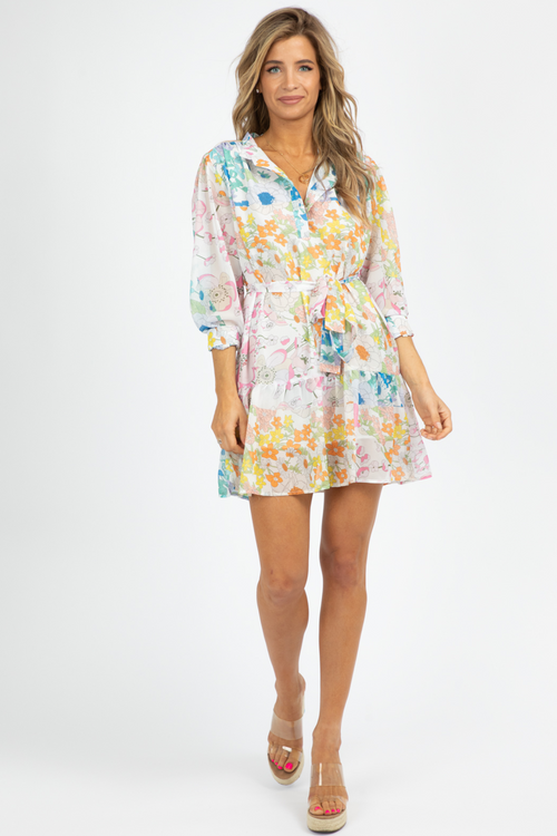 MULTICOLOR FLORAL BABYDOLL DRESS
