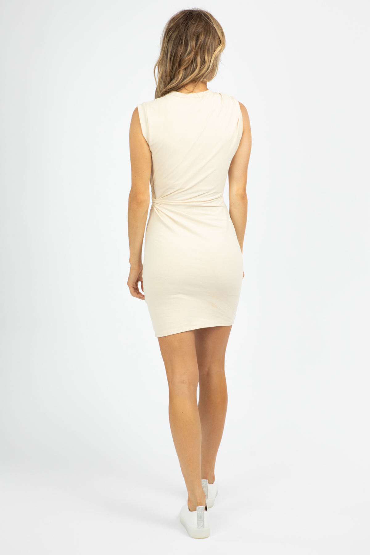 CREAM CUTOUT MINI DRESS