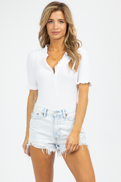WHITE RUFFLE BUTTON DOWN BODYSUIT