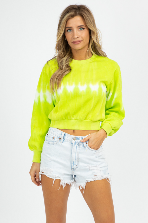 LIME TIE DYE CROP SWEATSHIRT