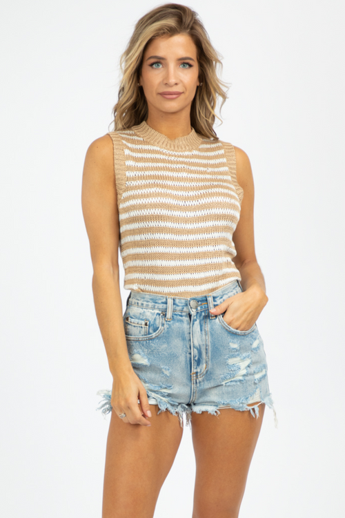 NEUTRAL STRIPED KNIT TANK