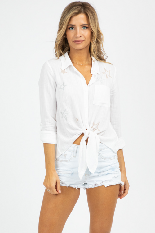 STAR STITCH BUTTON DOWN TOP