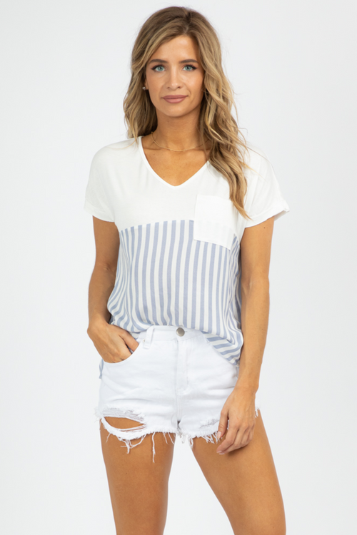 NAVY STRIPE RELAXED TOP