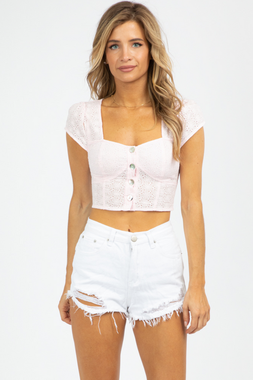 PINK PETAL BUTTON UP TOP