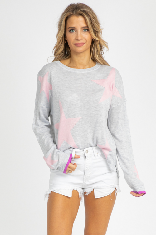 GREY + PINK STAR KNIT