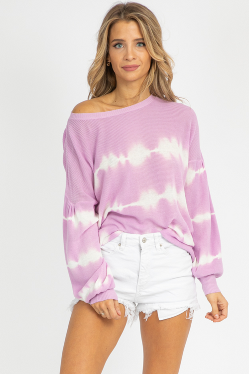 LAVENDER TIE DYE OPEN BACK KNIT
