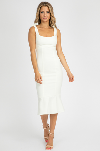 SHIRRED CAMI MIDI DRESS
