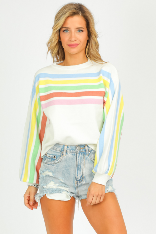 CREAM MULTICOLOR STRIPED SWEATER