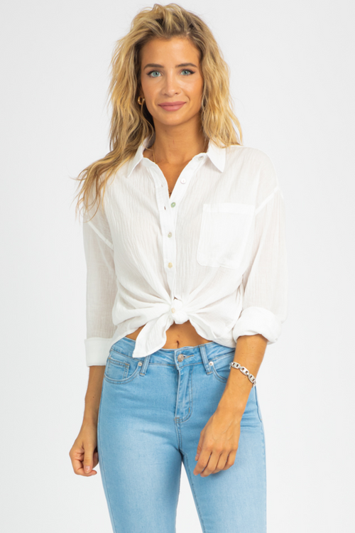 WHITE GAUZE BUTTON DOWN