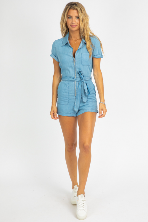 DENIM BLUE ZIP FRONT ROMPER