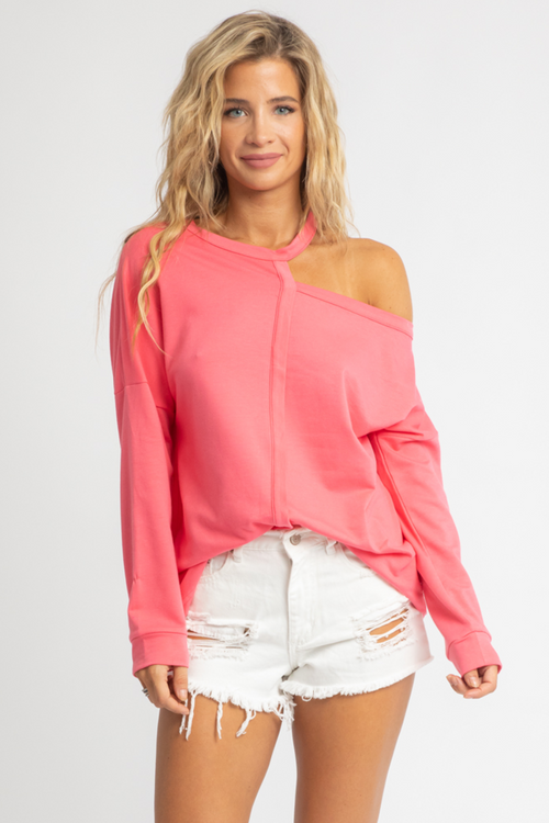 PINK SHOULDER CUTOUT PULLOVER