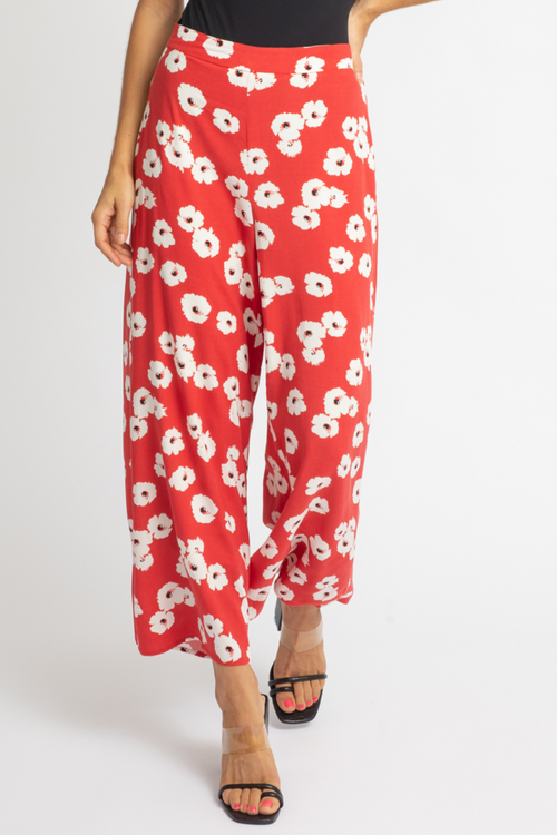 RED FLORAL WOVEN PANTS