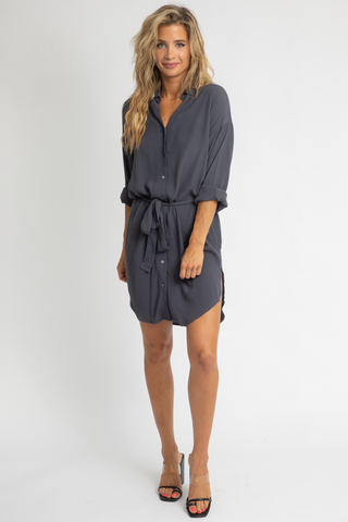 OLIVE WAIST TIE SHIRT DRESS